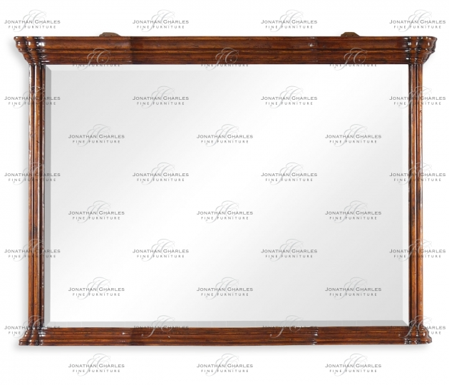 small rushmore Walnut overmantle mirror with heavy mouldings