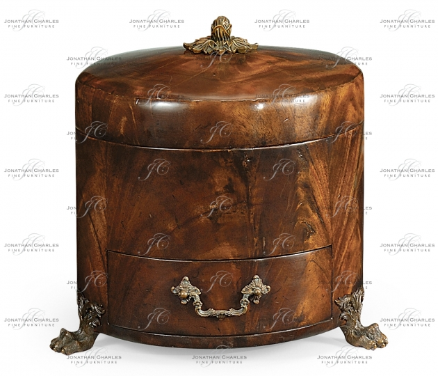 small rushmore Round Crotch Mahogany Jewellery Box