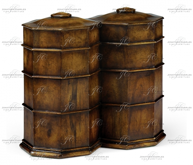 small rushmore Pair of Glass Decanters in Conjoined Octagonal Walnut Cases
