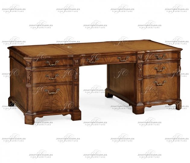 small rushmore Walnut faux partners desk