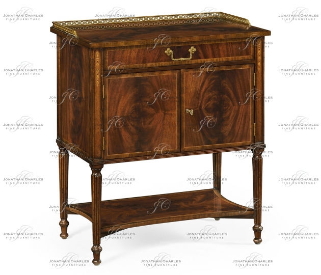 small rushmore Mahogany Bedside Table with Brass Gallery