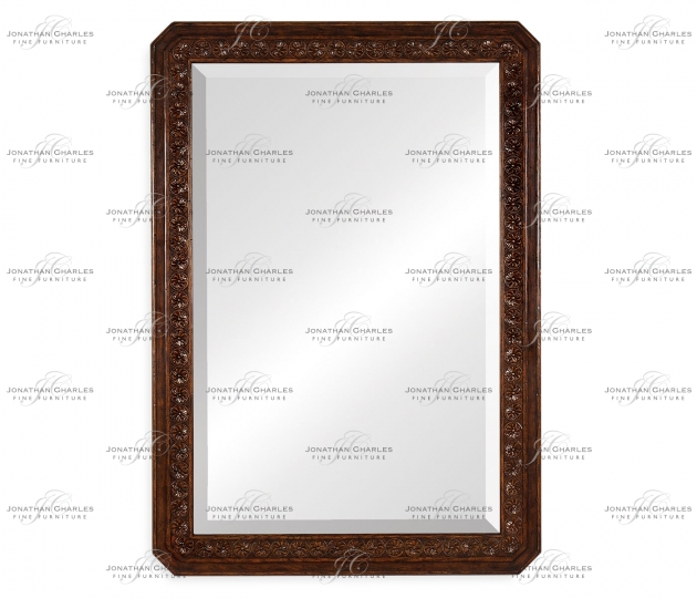 small rushmore Dark oak rectangular mirror with carved rosettes