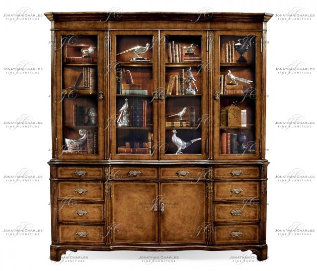 small rushmore Serpentine Architrave Walnut China Cabinet