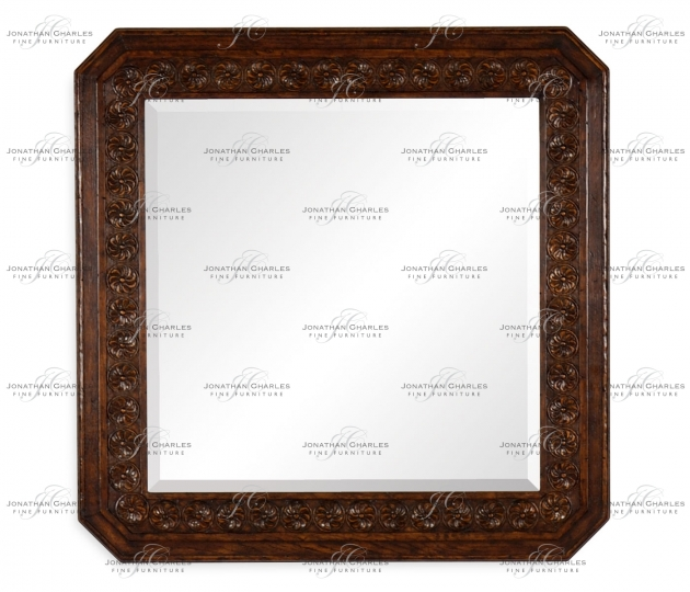 small rushmore Dark oak square mirror with carved rosettes