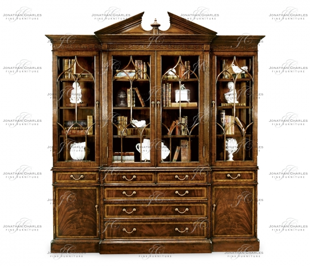 small rushmore Triple Mahogany Display Cabinet with Drawers