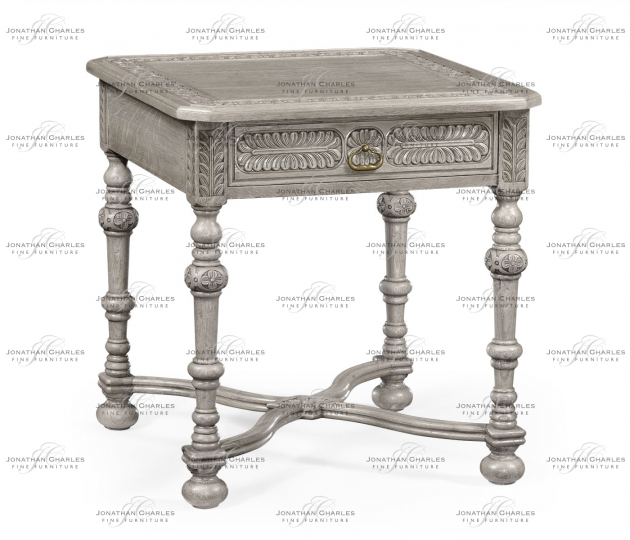 small rushmore Chip Carved Grey Oak Square Side Table