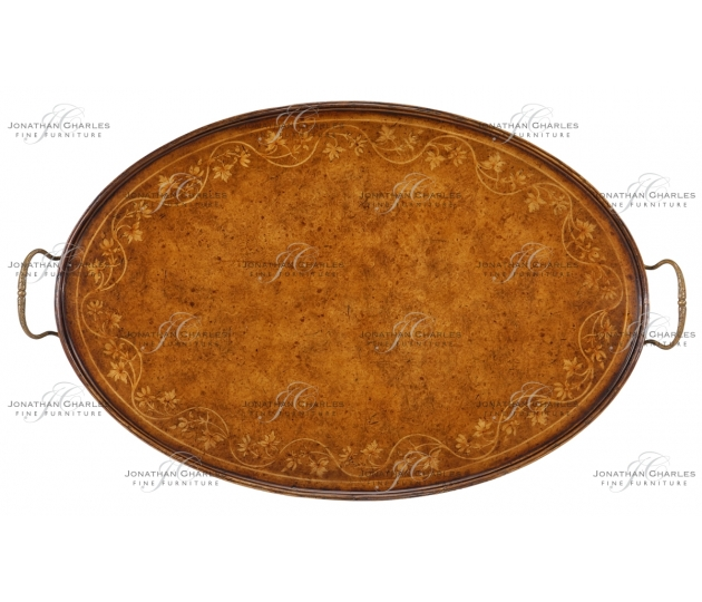 small rushmore Oval Burl Walnut Tray with Floral Inlay
