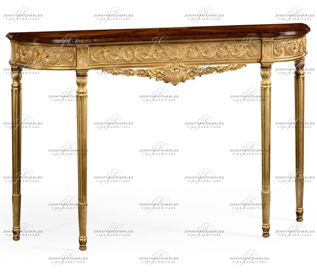 small rushmore Louis IV style narrow gilded console