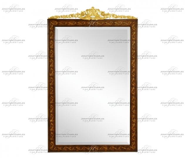 small rushmore Louis XVI Style inlaid & gilded rectangular mirror