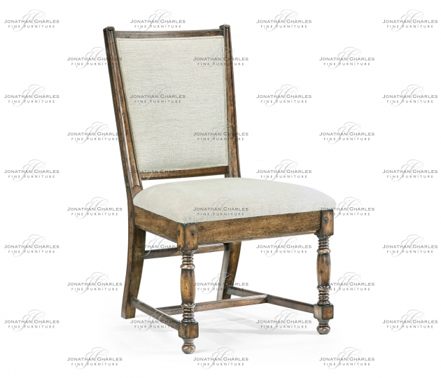 small rushmore Distressed Country Medium Driftwood Side Chair, Upholstered in Shambala