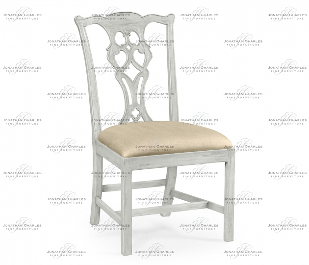 small rushmore Grey Mahogany Chippendale Style Side Chair, Upholstered in MAZO