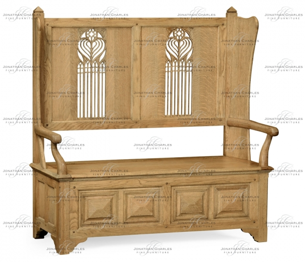 small rushmore Natural oak Gothic style settle with storage