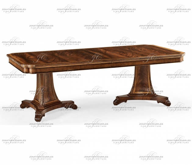 small rushmore Curved pedestal extending dining table