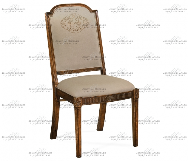 small rushmore Upholstered dining chair with gold embroidery (Side)