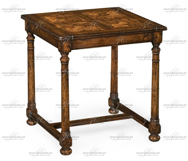 small rushmore Walnut Square Oyster Parquet Side Table