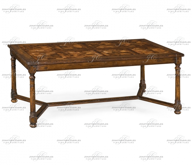 small rushmore Walnut Rectangular Parquet Oyster Coffee Table