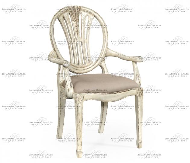 small rushmore Hepplewhite Wheatsheaf Arm Chair (Off-White)