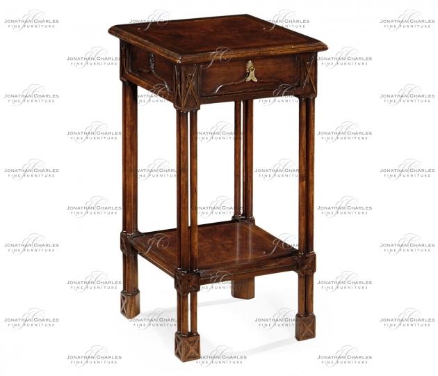 small rushmore Dark crotch walnut square lamp table