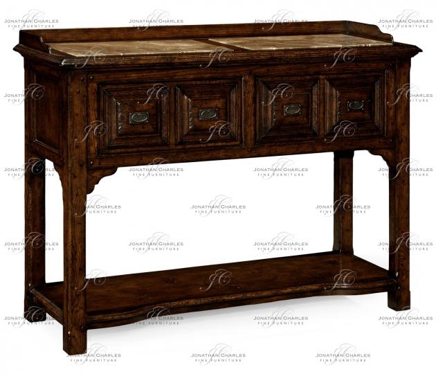 small rushmore Tudor style dark oak buffet or serving table