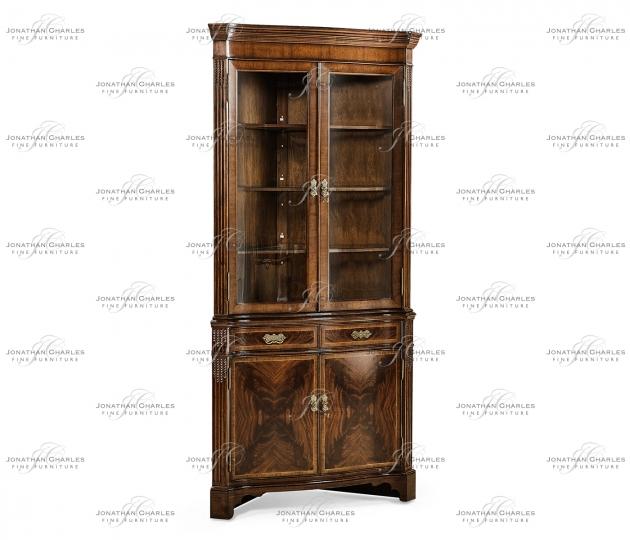 small rushmore Serpentine Mahogany Corner Cabinet