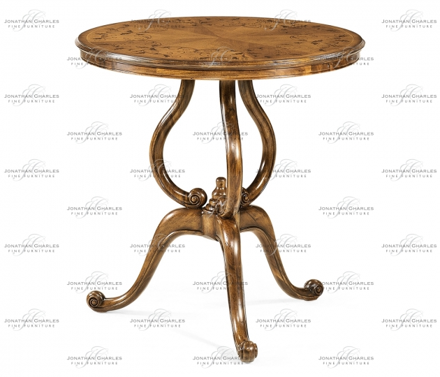 small rushmore Walnut lamp table with satinwood inlaid top