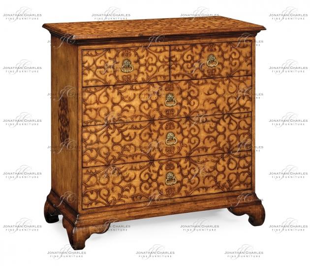 small rushmore Walnut raised arabesques chest of drawers