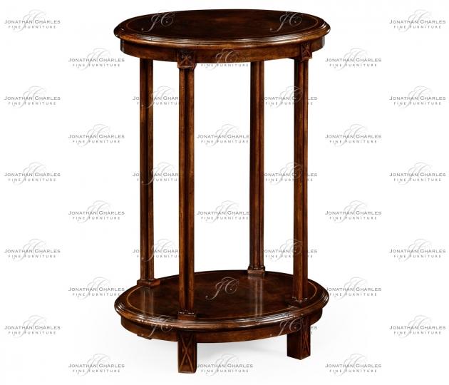 small rushmore Dark walnut oval lamp table