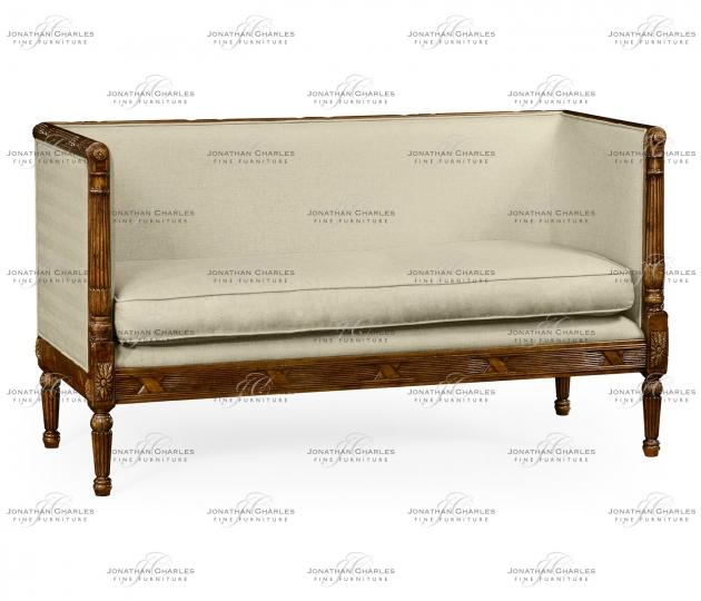 small rushmore Regency style walnut upholstered settee