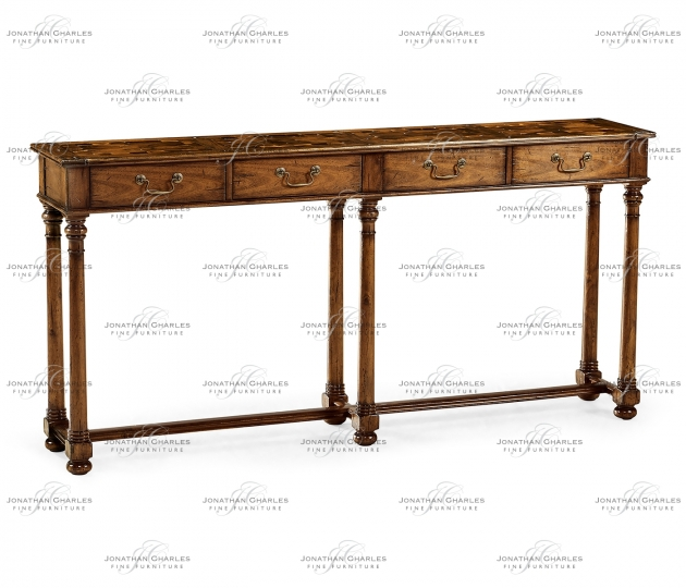small rushmore Large Walnut Oyster Parquet Console
