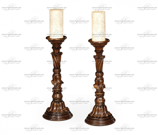 small rushmore Pair of Rococo style walnut candlesticks