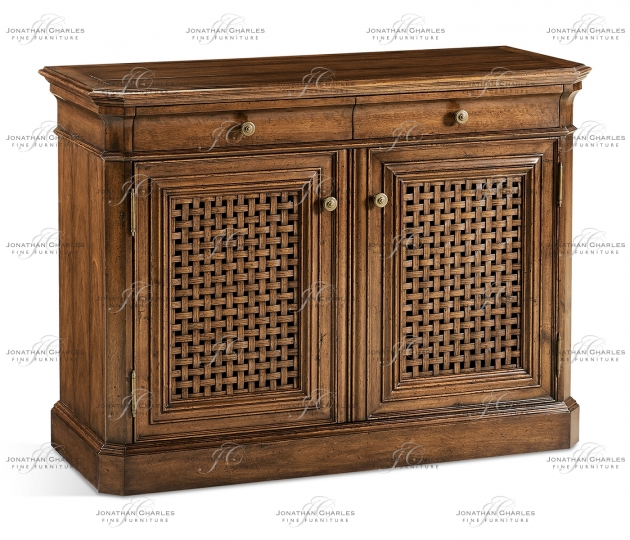 small rushmore Latticework Walnut Side Cabinet