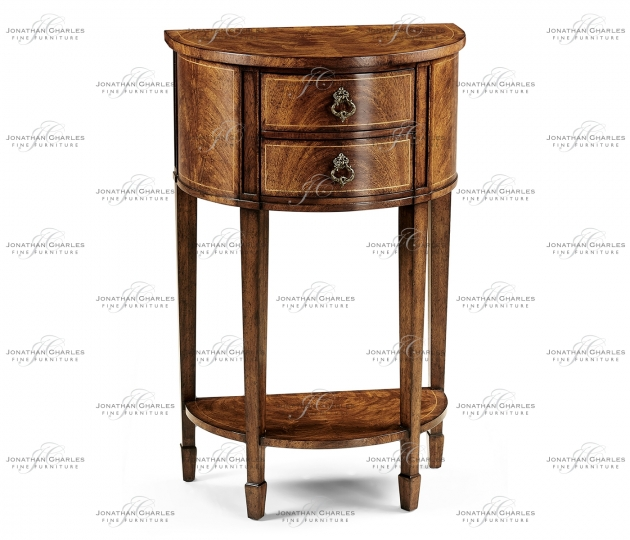 small rushmore Crotch walnut demilune narrow tables