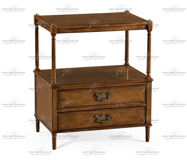 small rushmore Walnut two drawer side table