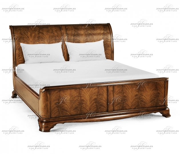 small rushmore Walnut Sleigh US King Bed
