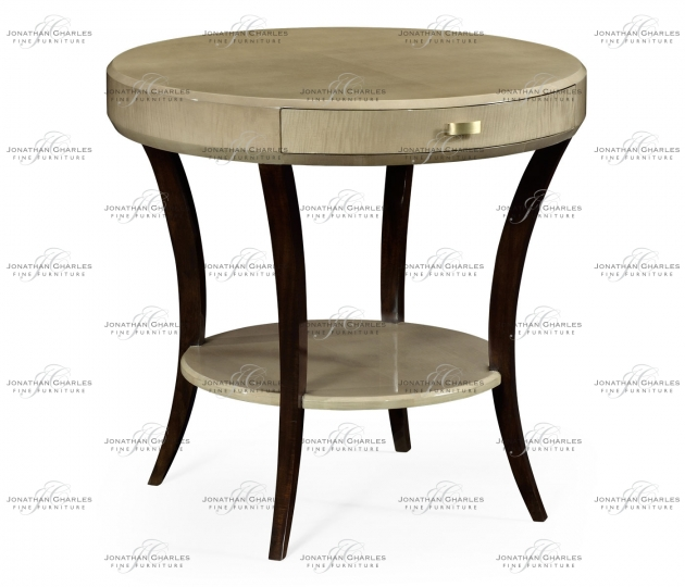 small rushmore Art Deco Round Side Table with Drawer