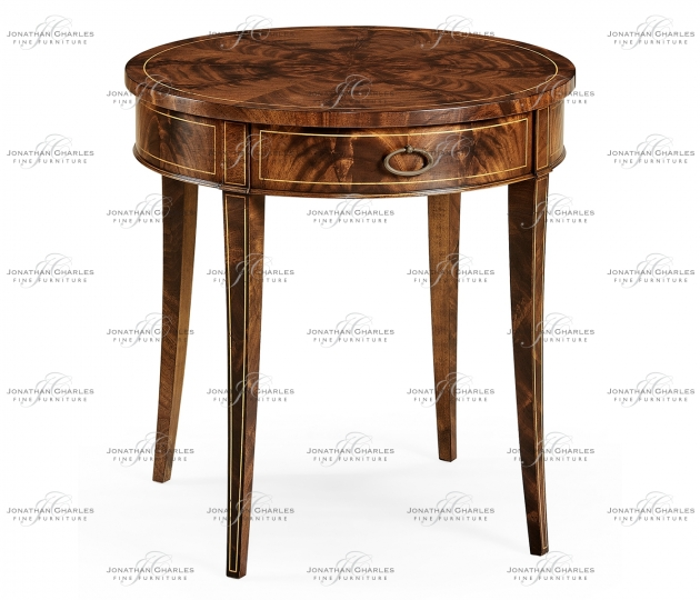 small rushmore Round mahogany side table fine stringing