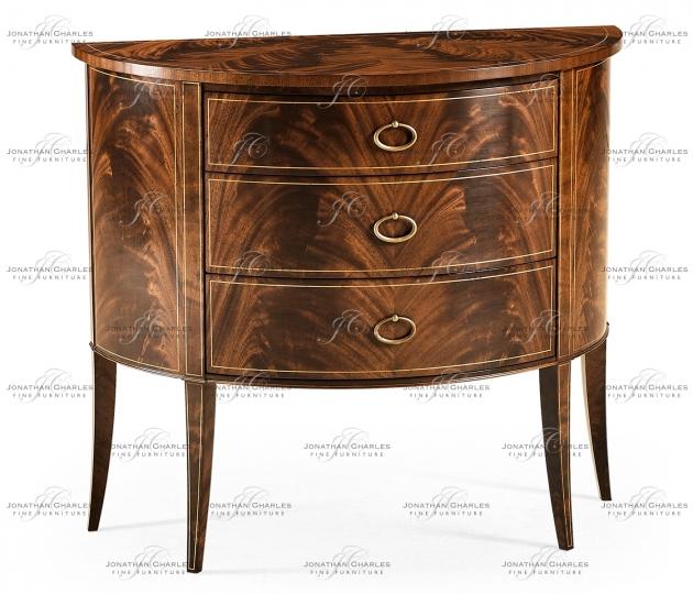 small rushmore Biedermeier style mahogany demilune cabinet