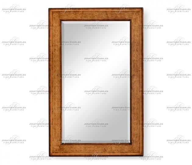 small rushmore Rectangular burl walnut veneer mirror