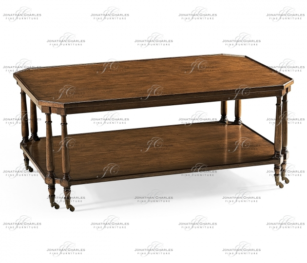 small rushmore Rectangular Walnut Coffee Table on Castors