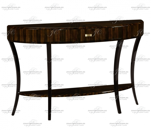 small rushmore Large Demilune Art Deco Macassar Ebony High Lustre Console Table with Drawer