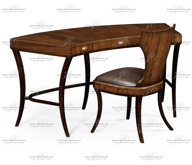 small rushmore Art Deco Satin Curved Desk with Drawers