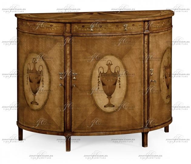 small rushmore Adam Style Walnut & Satinwood Demilune TV Cabinet