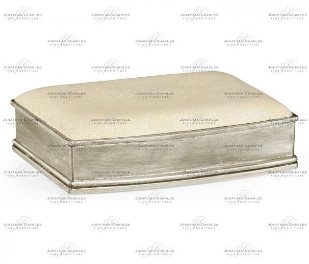 small rushmore Faux shagreen silvered box (Cream)