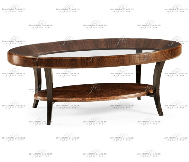small rushmore Art Deco Oval Glass Topped Satin Coffee Table