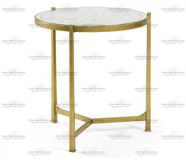 small rushmore Large Églomisé & Gilded Iron Lamp Table