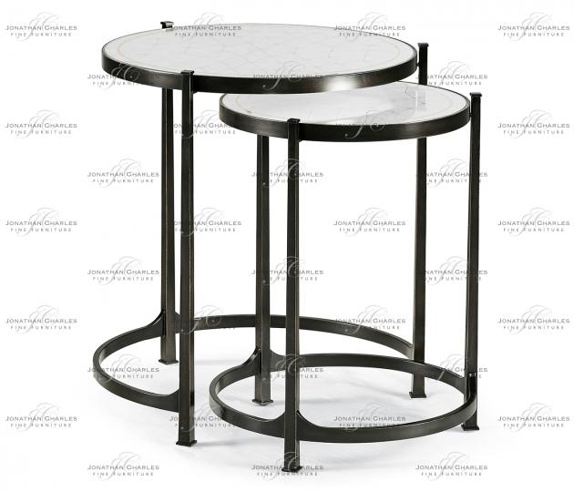 small rushmore Églomisé & Bronze Iron Round Nest of Tables