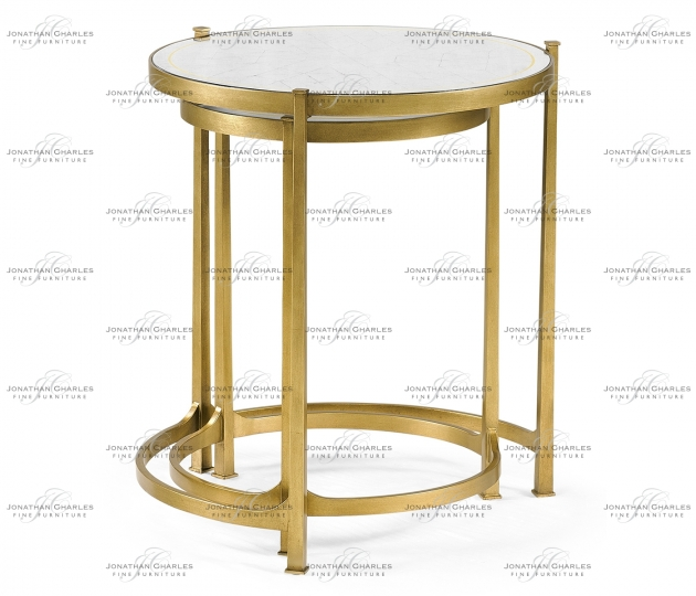 small rushmore Églomisé & Gilded Iron Round Nest of Tables