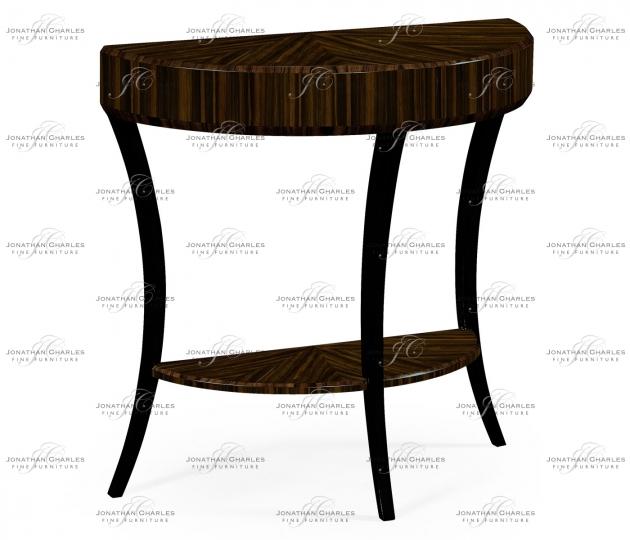 small rushmore Small Demilune Art Deco Macassar Ebony High Lustre Console Table