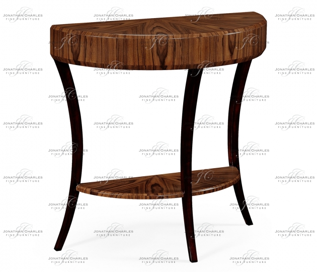 small rushmore Art Deco High Lustre Small Demilune Console Table
