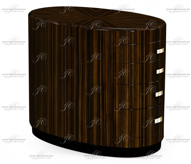 small rushmore Oval Art Deco Macassar Ebony High Lustre Chest of Drawers